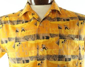 Vintage 50s Novelty Shirt Short Sleeve Button Up Fall Autumn Farm Orange Gold 1950s Mens Medium M Macy's California