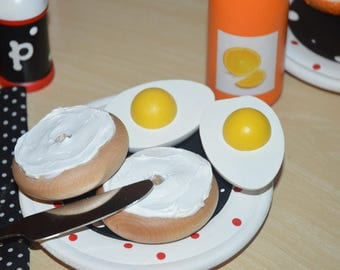 Organic Breakfast Pretend Food Eggs Orange Juice Bagel and Schmear