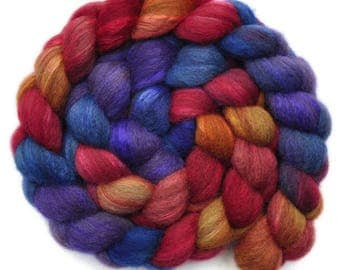Hand painted combed top roving - Silk / BFL wool 30/70% spinning fiber - 4.0 ounces - Up On The Roof 1