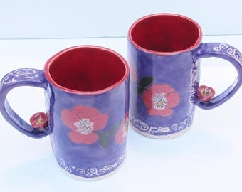 ceramics and pottery mug (set of 2), ceramic mug; hand built pottery; flower mug