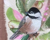 RESERVED for KELLY, Hanpainted Grow Chart with Chickadees