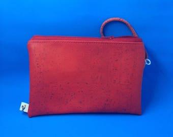 Custom CORK Wristlet - Red - Soft & Flexible - Vegan - Leather Alternative