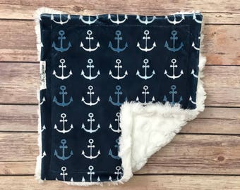 Security Blanket - Anchor Baby Blanket - Anchor Lovey - Anchor Lovie - Nautical Baby Nursery - Nautical Baby Bedding - Nautical Baby Shower