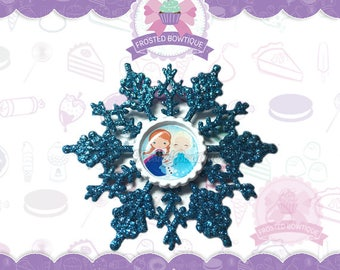 Frozen Anna, Elsa, and Olaf Glitter Snowflake - Christmas Ornament