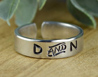 Any Two Initials/Monogrammed Couples/Best Friends Adjustable Ring-Hand Stamped Aluminum Ring-Any Size 4 5 6 7 8 9 10 11 12 13 14 1/4 1/2 3/4