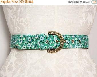 SALE Women's Vintage Belt. Floral Belt. 1970s Belt. 70s Belt. High Waist Belt. Gold Belt Buckle. Chain Belt. Green Belt. Retro Fabric Belt M
