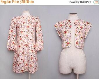 MOVING SALE 1960s Trapeze Dress. A Line Dress. Pink Floral Dress. Babydoll Dress. Folk Print Dress. Lolita Dress Set. Long Sleeve Dress. Med