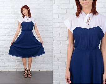Vintage 80s Color Block Dress White + Navy Blue XL Retro 9664