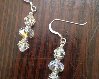 Bead clear crystal earrings