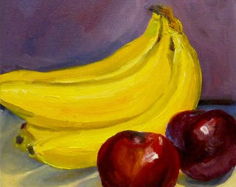 Small Oil Painting Still Life with Bananas and Plums