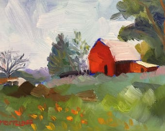 """Plein Air Small Landscape Oil Painting on Canvas """"A Walk in the Field"""""""