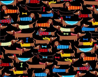 Dachshunds on Black from Timeless Treasures Fabrics