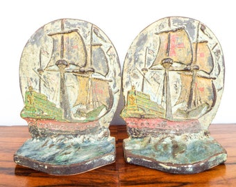 Vintage Cast Iron Nautical Albany Tall Ship Bookends Maritime Book Ends 1920s