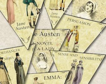 Jane Austen Books 8 Bunting designs digital collage sheet. DIGITAL DOWNLOAD