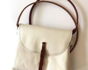 White KARINA crossbody leather bag