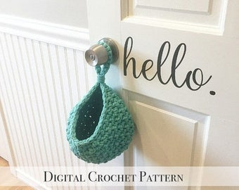 ON SALE DIY Crochet Pattern / Small Hanging Basket Pattern / Door Knob Basket Pattern / Crochet Toy Storage Basket Pattern / Diy Pdf Crochet