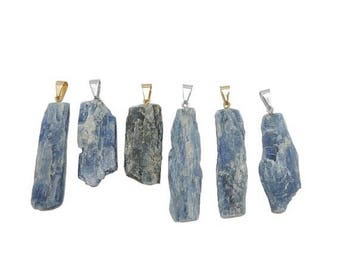 15% off Christmas in July Blue Kyanite Freeform Pendant with Gold or Silver Plated Cap and Bail (S97B9-S97B10)