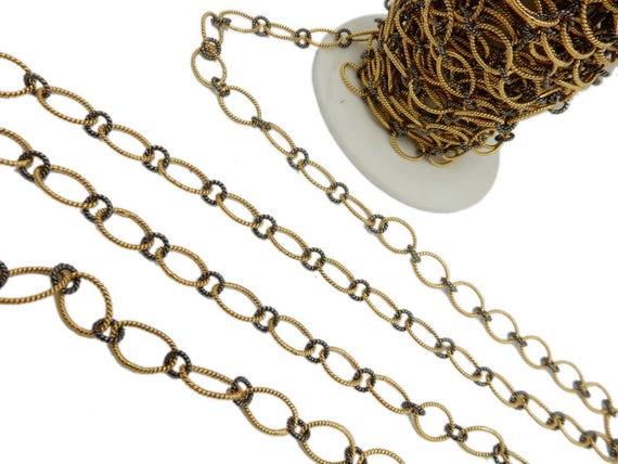 Gold Over Sterling And Black Polished Oval Textured Link