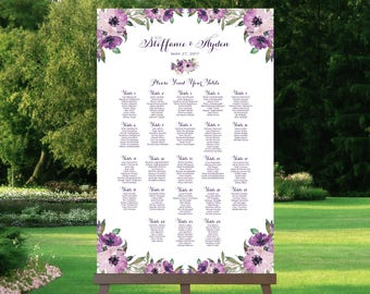 Wedding Seating Chart   By Table   Various Sizes   Vintage   Eggplant   Purple Blooms   I Create and You Print