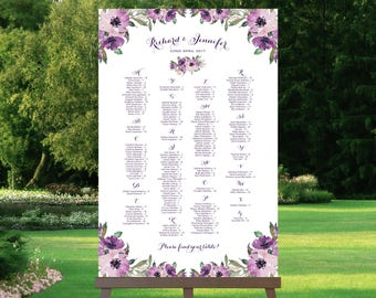 Wedding Seating Chart   Alphabetical   Various Sizes   Vintage   Eggplant   Purple Blooms   I Create and You Print