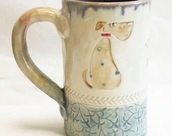 dog ceramic 16oz coffee mug stoneware 16D063