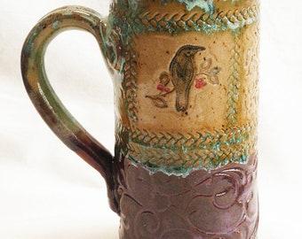 Ceramic raven mug 18oz. stoneware 18C039