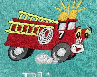 Fire truck beach towel, bath towel, kids towels, personalized, monogrammed towels, pool party gift, vacation