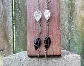 Double Arrowhead and Feather Earrings
