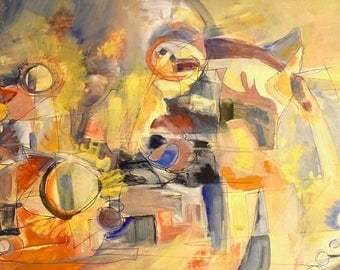 """Abstracted Still Life Oil Painting """"Antithesis of Myth II"""" Arshile Gorky Influenced Abstract Expressionist Impressionist"""