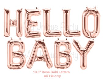 "Hello Baby Balloons Rose Gold Set of 9 Balloons 13.5"" Air Fill only Rose Gold Balloons Baby Banner Balloons / Gender Reveal Baby Shower"