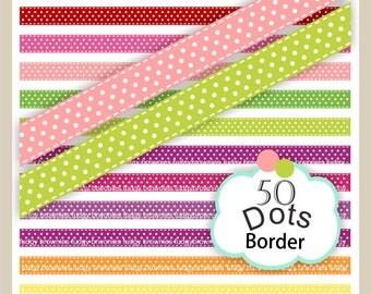 ON SALE,border clip art,dots stitch line border clip art, 50 colors, stitch ribbon digital clip art. B-32, polka dots color border clip art