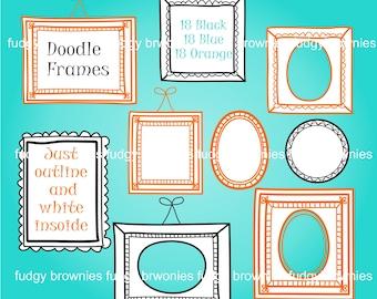 ON SALE Doodle lines hand drawn frame clip art, frame clip art:, Doodle Frame Clip Art, A-270