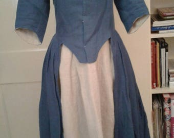 1780s Indigo Blue Linen Closed Front Rev War Gown, Hand Sewn With Extra Fabric