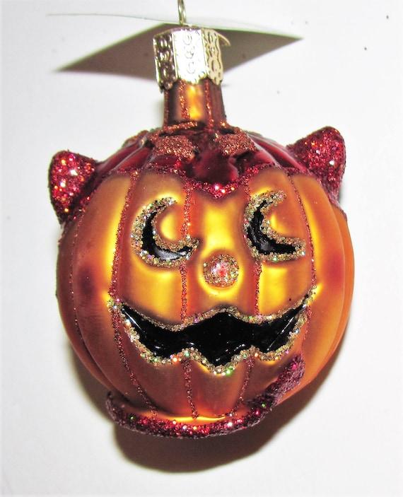 Lil' Devil Pumpkin Handmade Blown Glass Halloween Ornament
