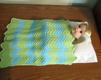 "Hand-crocheted Lime Green and Turquoise striped Afghan Blanket for 14.5"" Wellie wishers Dolls"