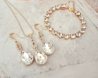 Gold crystal jewelry set, 3 piece gold jewelry set, 14k gold over sterling wires, Gold crystal necklace, bracelet, earrings, Wedding jewelry