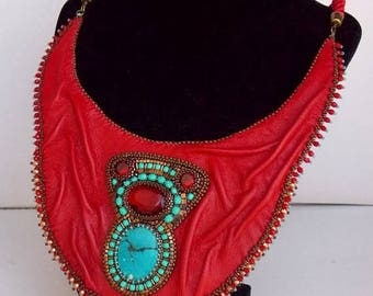 Summer sale It's hot red collar, Statement necklace, Seed beaded jewelry, Bead Embroidery,Tibetan turquoise gemstone, Red leather necklace