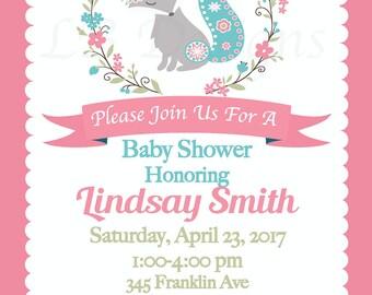 Custom Listing for Heather - Baby Fiona Fox Invitations - 5x7
