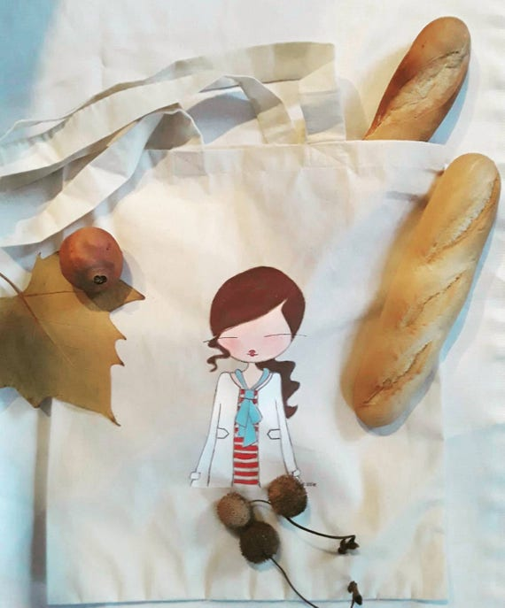 Canvas shopper,shopper bag,printend cotton bag ,colourful bag,drawing