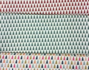 Fabric freedom Scandi Christmas collection FF51 Christmas Trees in red, green or multi by the half metre