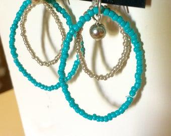 Teal & Silver Sead Bead Double Loop Earrings