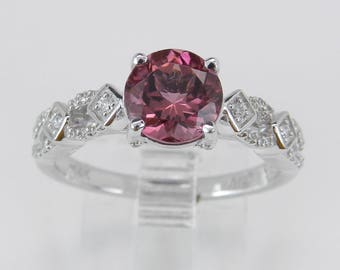 Pink Tourmaline and Diamond Engagement Promise Ring 14K White Gold Size 7 October Gem