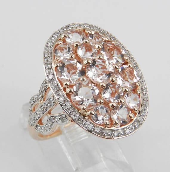 2.30 ct Diamond and Morganite Cluster Cocktail Ring 14K Rose Gold Size 6.75