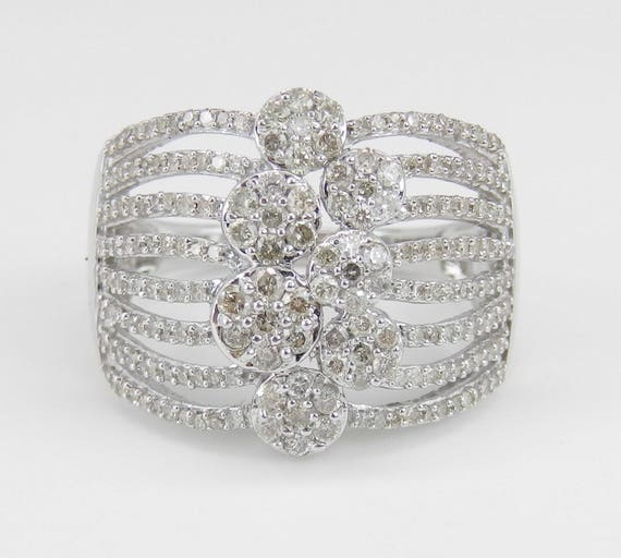 1.00 ct Diamond Cluster Ring Multi Row Band White Gold Size 7 Modern