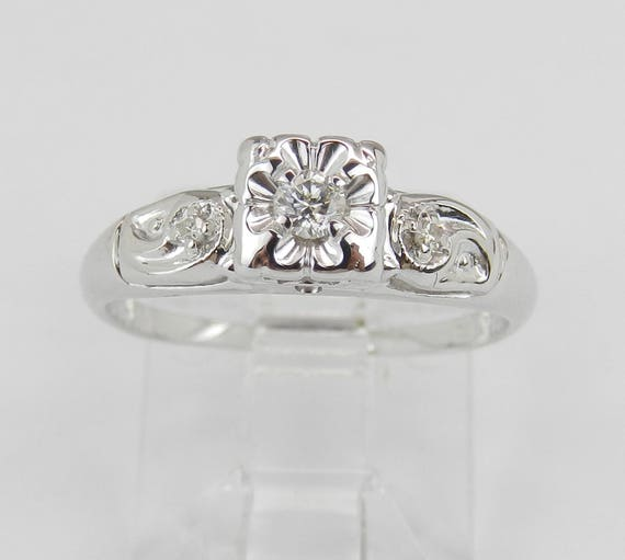 Antique Ring Vintage Ring Diamond Engagement Ring  14K White Gold Genuine Natural Size 4.75