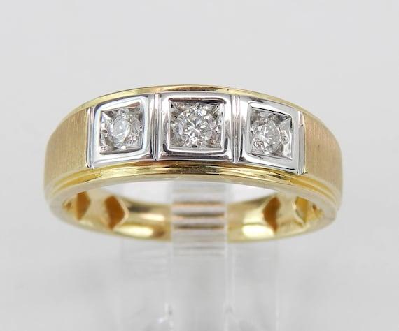 Men's Diamond Wedding Ring 3 Stone Anniversary Band Yellow Gold Size 10 G-SI1