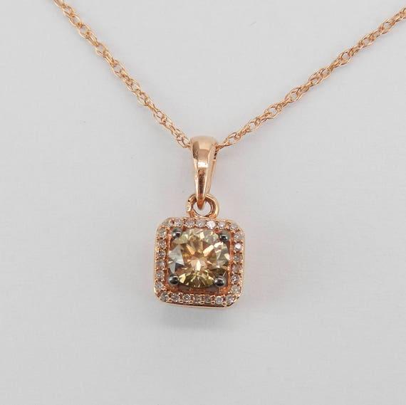 """Fancy Brown Cognac Diamond Halo Pendant Necklace Rose Gold 18"""" Chain"""