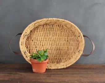Large Farmhouse Raffia Basket with Leather Handles, Vintage Farmhouse Decor