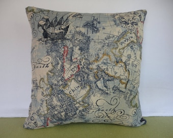 World Map Pillow Cover in Blue, Red, Brown, and Beige / Map Pillow / Blue Pillow / Accent Pillow / Decorative  Pillow