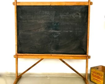 Antique primitive double sided classroom  chalkboard